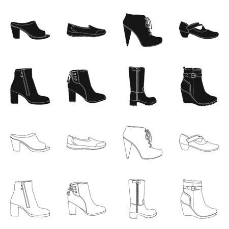 Vector design of footwear and woman logo. Collection of footwear and foot stock vector illustration. Stock Illustratie