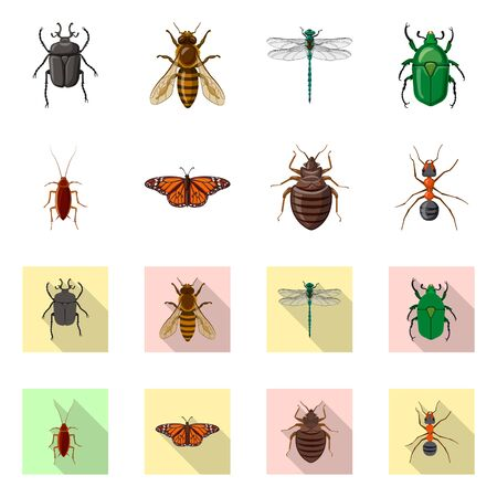 Vector illustration of insect and fly icon. Set of insect and element vector icon for stock. Stock fotó - 137043760