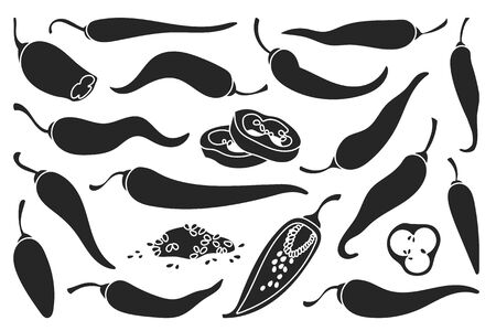 Pepper of chili black vector set icon. Vector illustration chili and red pepper on white background . Isolated black set icons red paprika.