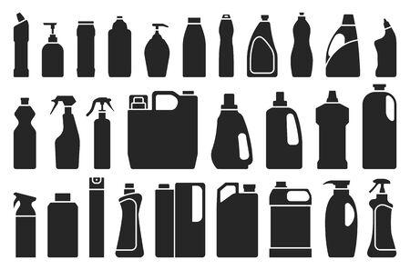 Detergent of product black set icon.Vector illustration detergent for laundry on white background .Isolated black set icon bottle domestic. Ilustrace