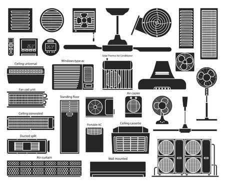 Air ventilator black vector set icon.Vector illustration icon of ventilator equipment.Isolated black set of air fan system. Illustration