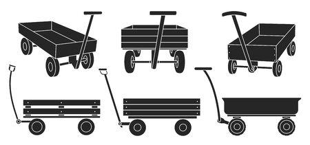 Garden cart black vector illustration on white background. Farm wheelbarrow black set icons.Vector illustration set icon equipment of garden cart.