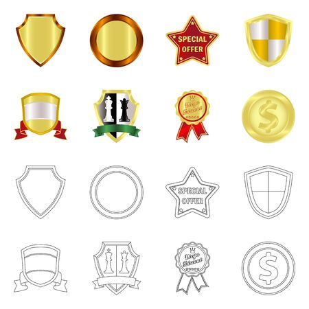 Vector design of emblem and badge sign. Collection of emblem and sticker stock symbol for web. Stockfoto - 137043787