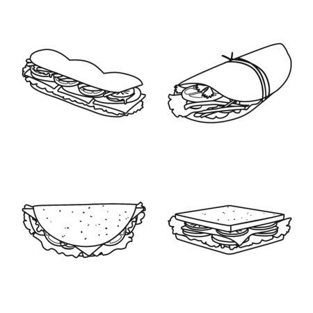 Illustrazione vettoriale del segno di fastfood e pranzo. Collezione di icone vettoriali di fastfood e snack per stock.