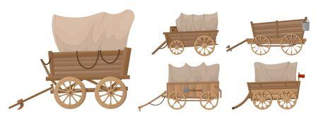 Icono de conjunto de dibujos animados de vector de vagón del salvaje oeste.Ilustración de vector conjunto occidental del carro viejo sobre fondo blanco.