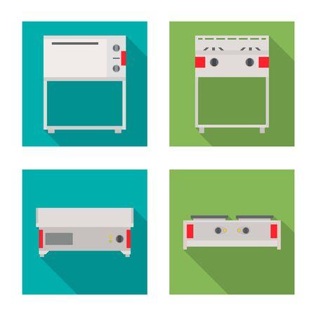 Vector design of domestic and appliances icon. Set of domestic and furniture vector icon for stock.