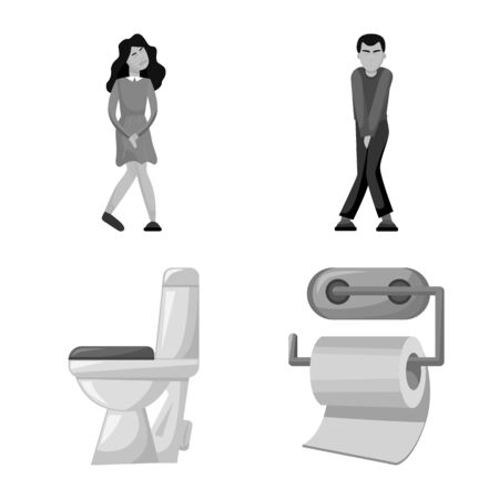 Vector illustration of wc and washroom icon. Set of wc and wash vector icon for stock. Ilustrace