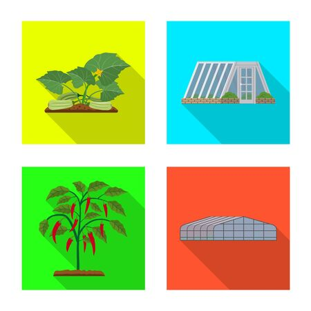 Vector illustration of greenhouse and plant icon. Set of greenhouse and garden vector icon for stock.