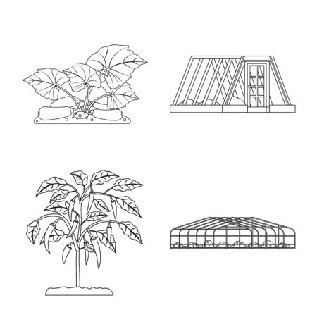 Vector illustration of greenhouse and plant icon. Set of greenhouse and garden stock symbol for web.