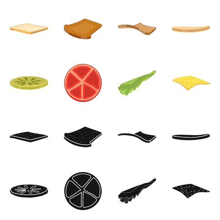 Vector illustration of breakfast and delicious sign. Set of breakfast and tasty stock vector illustration. Иллюстрация
