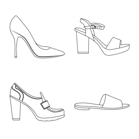 Vector illustration of footwear and woman . Set of footwear and foot stock vector illustration.
