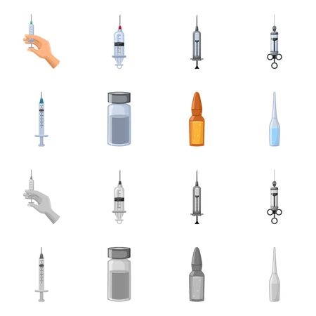 Vector design of hospital and vaccination . Collection of hospital and equipment stock symbol for web.