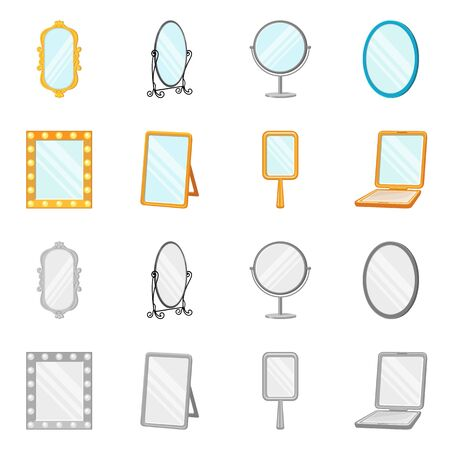 Vector illustration of reflect and piece symbol. Set of reflect and furniture vector icon for stock. Vettoriali