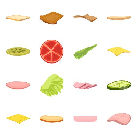 Isolated object of sandwich and snack icon. Collection of sandwich and fastfood vector icon for stock.