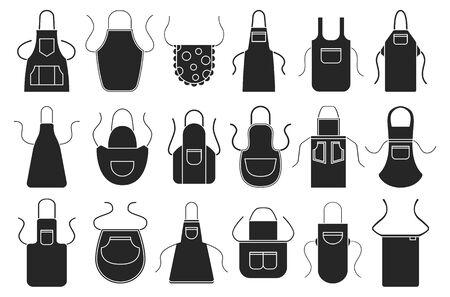 Delantal de cocina vector conjunto de iconos negros. Delantal de cocina de los iconos de la ilustración del vector del uniforme del cocinero del negro aislado en el fondo blanco.