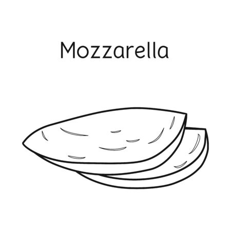 Vector design of cheese and mozzarella icon. Graphic of cheese and piece stock symbol for web.