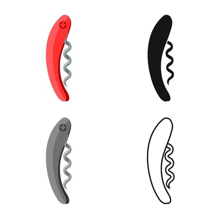 Vector design of corkscrew-spin and gimlet sign. Web element of corkscrew-spin and wine vector icon for stock.