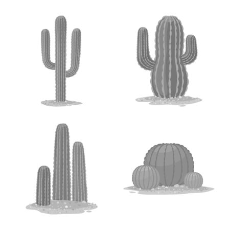 Vector design of desert and landscape icon. Set of desert and botanical vector icon for stock. Illustration