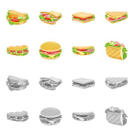Vector design of dinner and cuisine logo. Set of dinner and breakfast stock symbol for web.