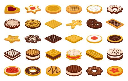 Cookie of food cartoon vector illustration on white background. Biscuit cake cartoon vector set.Isolated vector icons cookie of food. 向量圖像
