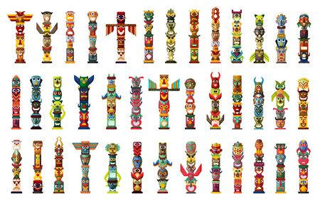 Totem vector cartoon set icon. Vector illustration set tribal mask. Isolated cartoon icons traditional totem on white background .