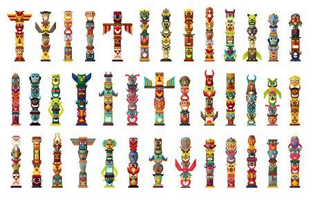 Totem-Vektor-Cartoon-Set-Symbol. Vektor-Illustration gesetzt Stammes-Maske. Isolierte Cartoon-Symbole traditionelles Totem auf weißem Hintergrund.