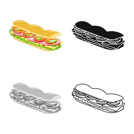Isolated object of burger and hoagie icon. Graphic of burger and bun vector icon for stock.