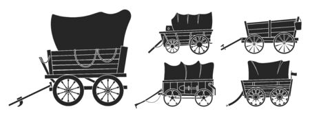 Wild west wagon vector black set icon.Vector illustration set western of old carriage on white background .Isolated black icons wild west wagon.