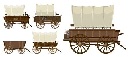 Vagón del salvaje oeste aislado icono de dibujos animados. Ilustración de vector conjunto occidental del viejo carro sobre fondo blanco. Vector de dibujos animados conjunto de iconos vagón del salvaje oeste. Ilustración de vector