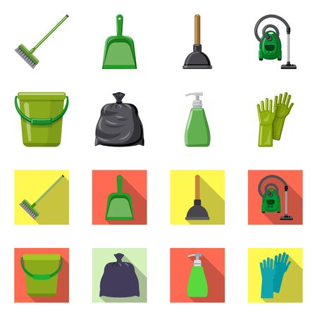 Vector design of cleaning and service icon. Collection of cleaning and household stock symbol for web. 向量圖像