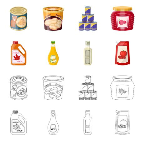 Vector design of can and food sign. Collection of can and package vector icon for stock. Ilustração