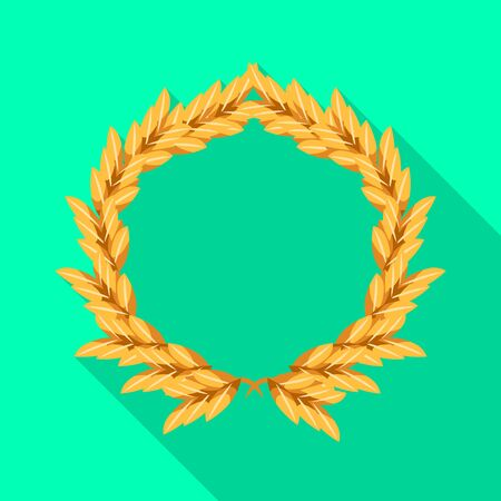 Vector illustration of wreath and barley icon. Collection of wreath and gold stock vector illustration.
