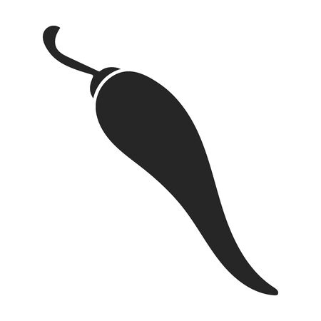Pepper chili vector icon.Black vector logo isolated on white background pepper chili .
