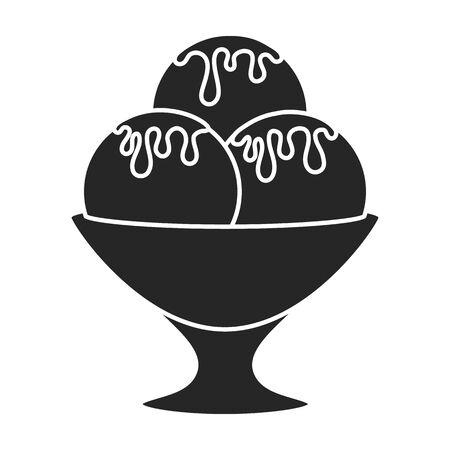 Ice cream vector icon.Black vector logo isolated on white background ice cream .