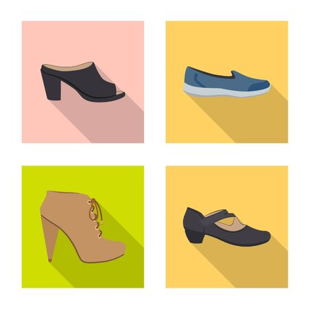 Vector illustration of footwear and woman symbol. Set of footwear and foot vector icon for stock.