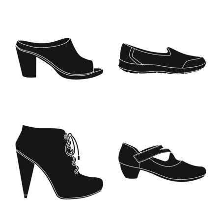 Vector design of footwear and woman . Collection of footwear and foot stock vector illustration.