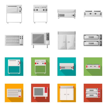 Isolated object of domestic and appliances sign. Collection of domestic and furniture stock vector illustration. Ilustração