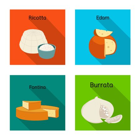 Vector illustration of food and dairy symbol. Set of food and product stock vector illustration.