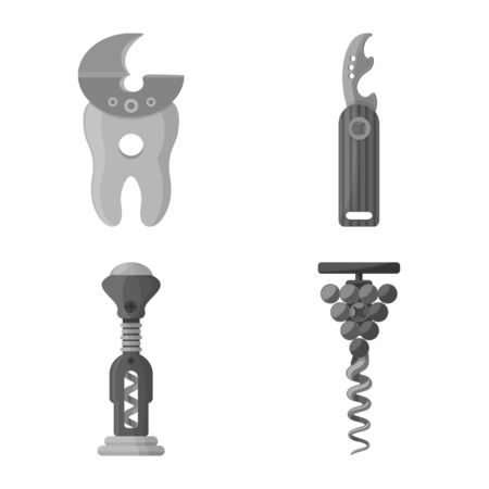 Vector design of uncork and household sign. Set of uncork and equipment stock symbol for web.