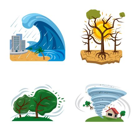 Vector illustration of natural and disaster symbol. Set of natural and risk vector icon for stock. 向量圖像