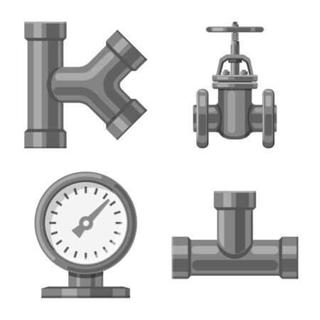 Vector illustration of pipe and tube icon. Collection of pipe and pipeline vector icon for stock.