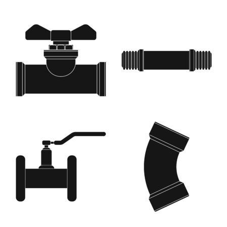 Vector design of pipe and tube  . Collection of pipe and pipeline vector icon for stock. 向量圖像