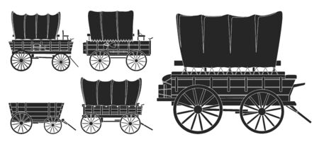 Wild west wagon isolated black icon.Vector illustration set western of old carriage on white background .Vector black set icon wild west wagon.