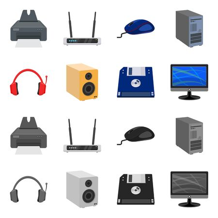 Vector design of laptop and device icon. Collection of laptop and server stock symbol for web.