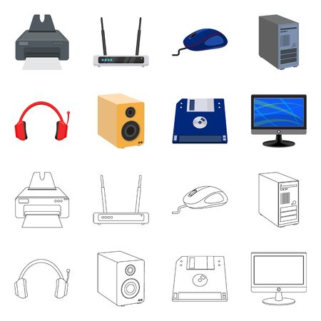 Vector design of laptop and device sign. Collection of laptop and server stock symbol for web. 向量圖像