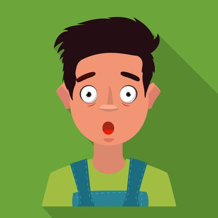 Vector illustration of guy and fright icon. Set of guy and surprise stock symbol for web. Çizim