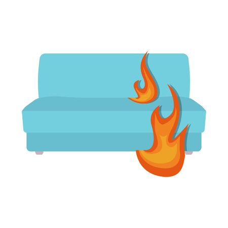 Isolated object of flame and sofa symbol. Collection of flame and burn stock symbol for web.