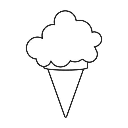 Ice cream in cone vector icon.Line vector icon isolated on white background ice cream in cone. Vettoriali
