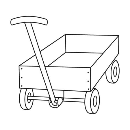 Wheelbarrow vector icon.Line vector icon isolated on white background wheelbarrow . Banque d'images - 137641094