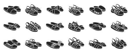 Fashion sandal vector illustration set on white background . Summer shoe of sandal black vector set icon. Isolated black icon summer footwear.